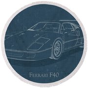 Ferrari F40 - Blueprint  Round Beach Towel