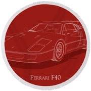 Ferrari F40 - White Blueprint On Red Round Beach Towel