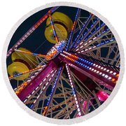Ferris Wheel At Night Round Beach Towel
