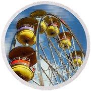 Ferris Wheel On Mosaic Blurred Background Round Beach Towel