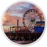 Ferris Wheel On The Pier - Square Round Beach Towel
