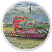 Round Beach Towel featuring the photograph Ferry Across The Mersey by Leigh Kemp