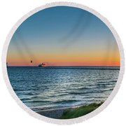 Ferry Going Into Sunset Round Beach Towel