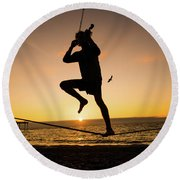 Fiddle Playing At Sunset In Aberystwyth Round Beach Towel