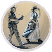 Fiddler's Daughter Round Beach Towel
