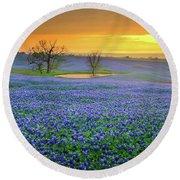 Field Of Dreams Texas Sunset - Texas Bluebonnet Wildflowers Landscape Flowers  Round Beach Towel