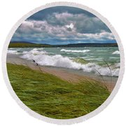 Field Of Green On Lake Superior Round Beach Towel