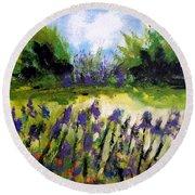 Field Of Irises Round Beach Towel