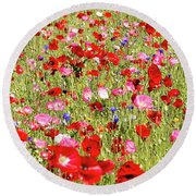 Field Of Red Poppies Round Beach Towel