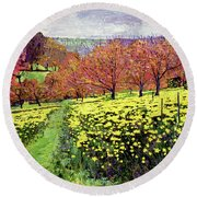 Fields Of Golden Daffodils Round Beach Towel