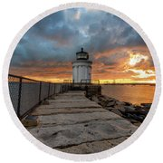 Fiery Skies At Bug Light Round Beach Towel