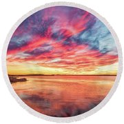 Round Beach Towel featuring the photograph Fiery Sky by Russell Pugh