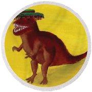 Fies-t-rex Round Beach Towel