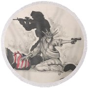 Fighting For Liberty  Round Beach Towel