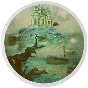 Round Beach Towel featuring the digital art Finding Captain Nemo by Alexa Szlavics