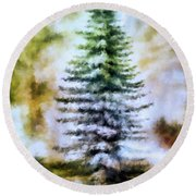 Fir Tree In Winter  Round Beach Towel