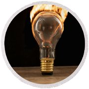 Fire And Flames Ignited Out Of Light Bulb Round Beach Towel