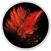 Fire Feathers Round Beach Towel