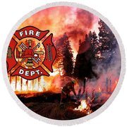 Fire Fighting 3 Round Beach Towel