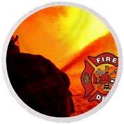 Fire Fighting 6 Round Beach Towel
