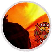 Fire Fighting 6 Round Beach Towel