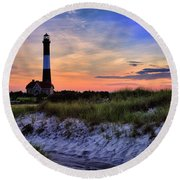 Fire Island Lighthouse Round Beach Towel