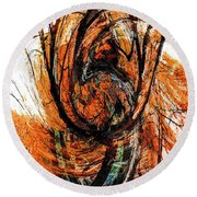 Round Beach Towel featuring the photograph Fire Tree 2 by Michael Arend