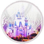 Fireworks, Cinderella's Castle, Magic Kingdom, Walt Disney World Round Beach Towel