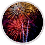 Fireworks Colorful Explosions Round Beach Towel
