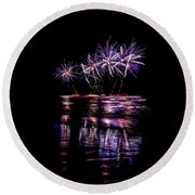 Fireworks Frenzy Round Beach Towel
