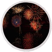 Round Beach Towel featuring the digital art Fireworks Reflection Panorama by OLena Art Brand