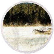 Round Beach Towel featuring the photograph First Fish by Pete Federico