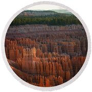 Round Beach Towel featuring the photograph First Light On The Hoodoo Inspiration Point Bryce Canyon National Park by Nathan Bush