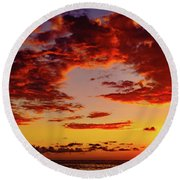 First November Sunset Round Beach Towel