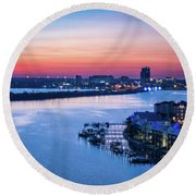 Firstlight Over Clearwater Round Beach Towel