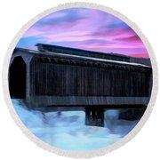 Fisher Raiilroad Covered Bridge Wolcott Vermont. Round Beach Towel