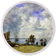 Fishermens Wives At The Seaside - Digital Remastered Edition Round Beach Towel