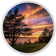Fishing At End Of Day Round Beach Towel