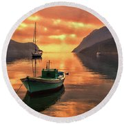 Fishing Boats At Sunset Simi Greek Islands-dwp40406001 Round Beach Towel