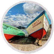 Fishing Boats In Frenchtown Round Beach Towel