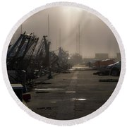 Fishing Boats Moored In The Harbor Round Beach Towel