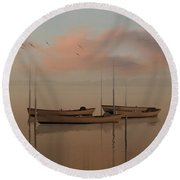 Fishing Boats Resting At Dusk Round Beach Towel