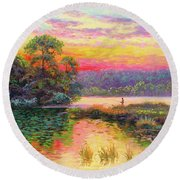 Fishing In Evening Glow Round Beach Towel
