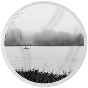 Fishing In The Fog Round Beach Towel