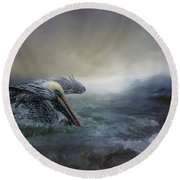 Fishing In The Storm Round Beach Towel