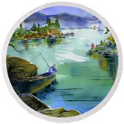 Fishing Lake Tahoe Round Beach Towel