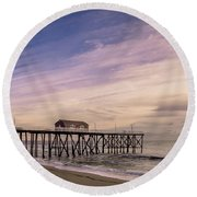 Fishing Pier Sunrise Round Beach Towel