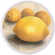 Five Lemons  Round Beach Towel