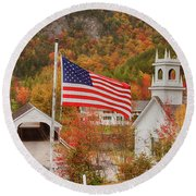 Flag Flying Over The Stark Covered Bridge Round Beach Towel