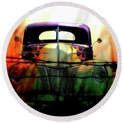 Flamed And Barbed Vintage Car Round Beach Towel